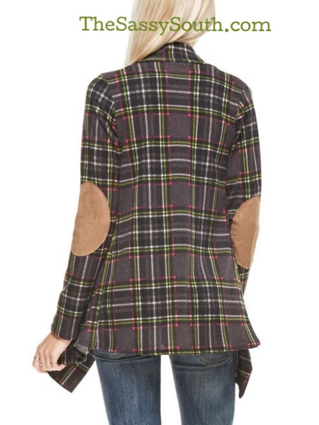 Plaid Cardigan with Suede Elbow Patches (Dark Green) - Cardigan - The Sassy South Boutique