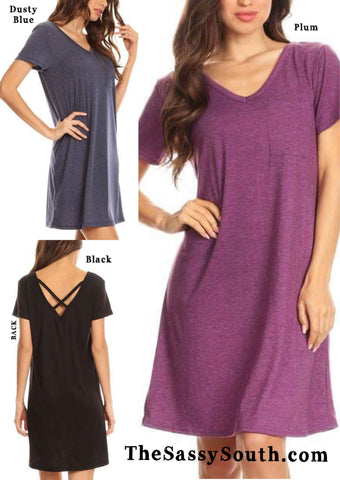 Cross Back Pocket T-Shirt Dress (Black/ Blue/ Plum)