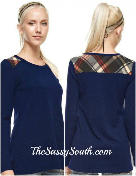 Plaid Shoulder Paneled Solid Top (Navy) Long Sleeves - Blouse - The Sassy South Boutique