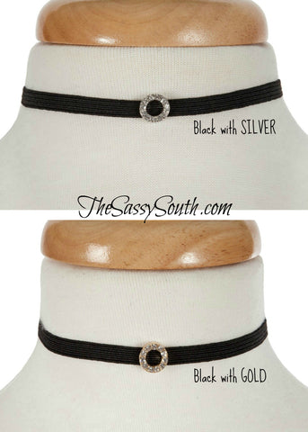 Adjustable Stretch Choker with Jeweled Circle Accent
