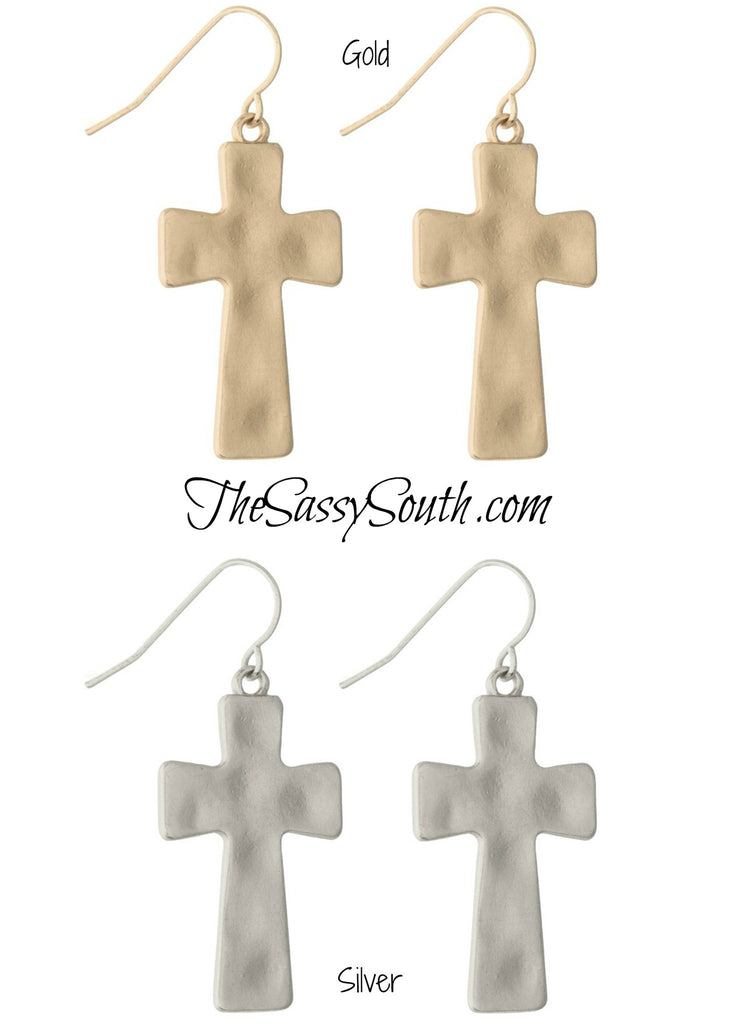 Matte Hammered Cross Earrings - Jewelry - The Sassy South Boutique