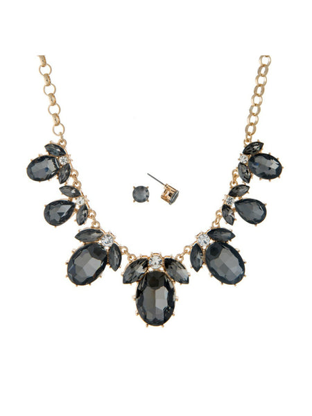 Black Oval Jewel Necklace Set - The Sassy South Boutique - Jewelry