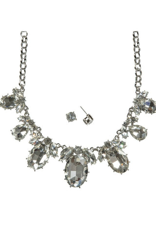 Crystal Oval Jewel Necklace Set - Jewelry - The Sassy South Boutique