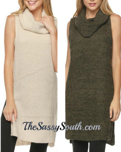 Cowl Neck Sleeveless Tunic with Side Slits