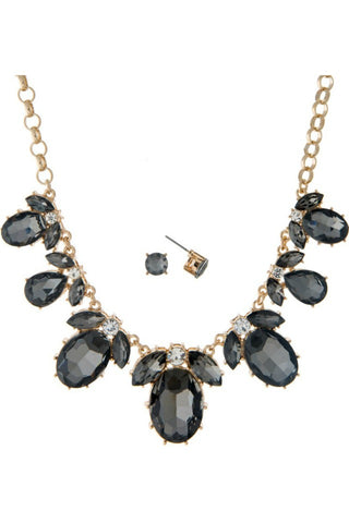 Black Oval Jewel Necklace Set - Jewelry - The Sassy South Boutique