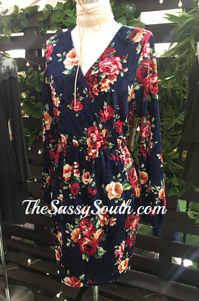 Floral Crushed Velvet Surplice Dress - Dress - The Sassy South Boutique