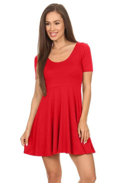 Solid Fit Flare Scoop Neck Dress