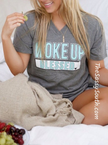 Woke Up Blessed Tee - Graphic Top - The Sassy South Boutique