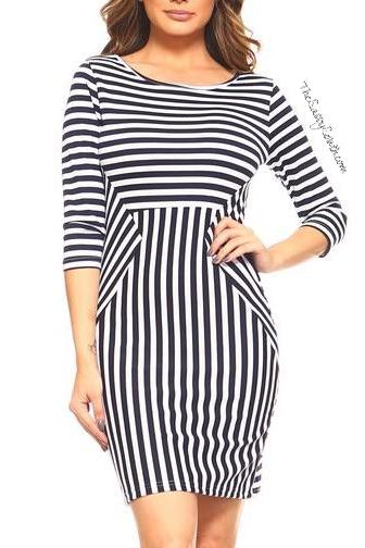 Three-Quarter Sleeve Striped Dress