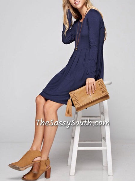 (Curvy) Solid Pleated Dress with Pockets (Navy OR Black) - Dress (CURVY) - The Sassy South Boutique