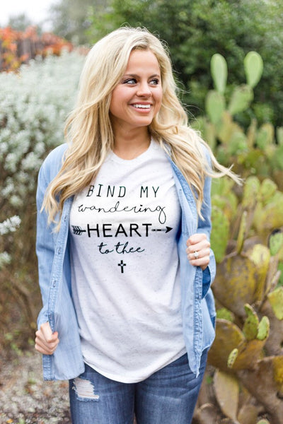 Bind My Wandering Heart to Thee (Cream Fleck) - Graphic Top - The Sassy South Boutique