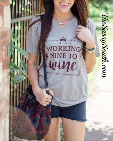 Working Nine to WINE V-Neck Tee - Graphic Top - The Sassy South Boutique