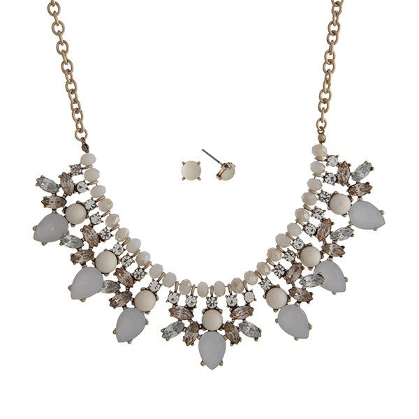 White Champagne Statement Necklace Set - Jewelry - The Sassy South Boutique
