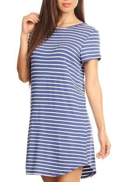 Striped T-Shirt Dress - Dress - The Sassy South Boutique