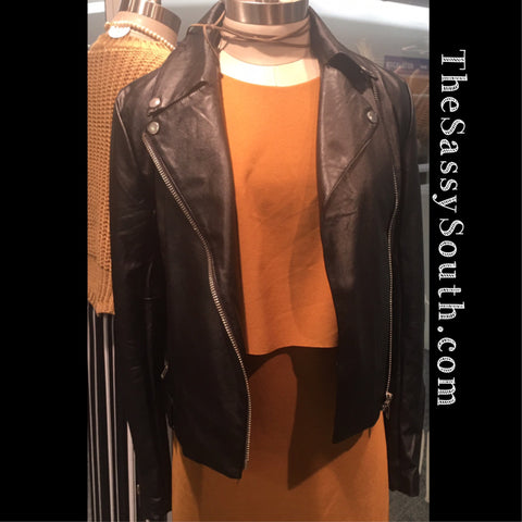 Black Motorcycle Jacket - Coat/Jacket - The Sassy South Boutique