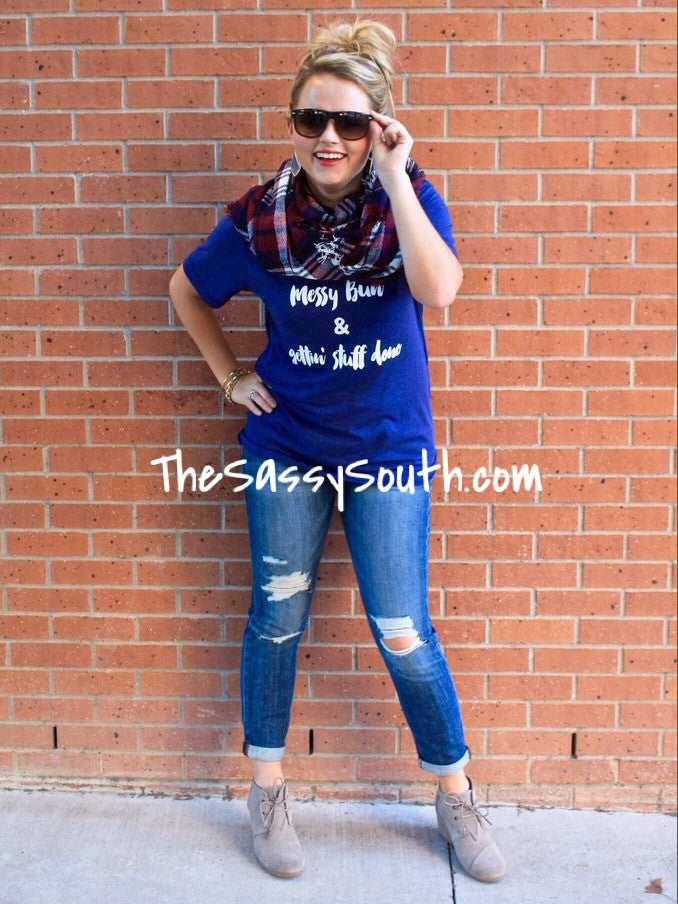 Messy Bun Tee - Graphic Top - The Sassy South Boutique