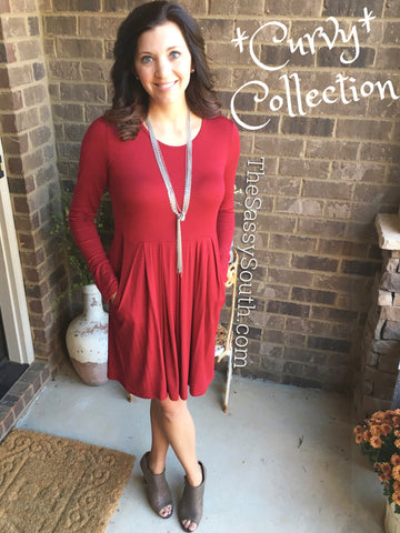 (Curvy) Solid Pleat Dress with Pockets (H.Grey or Burgundy)
