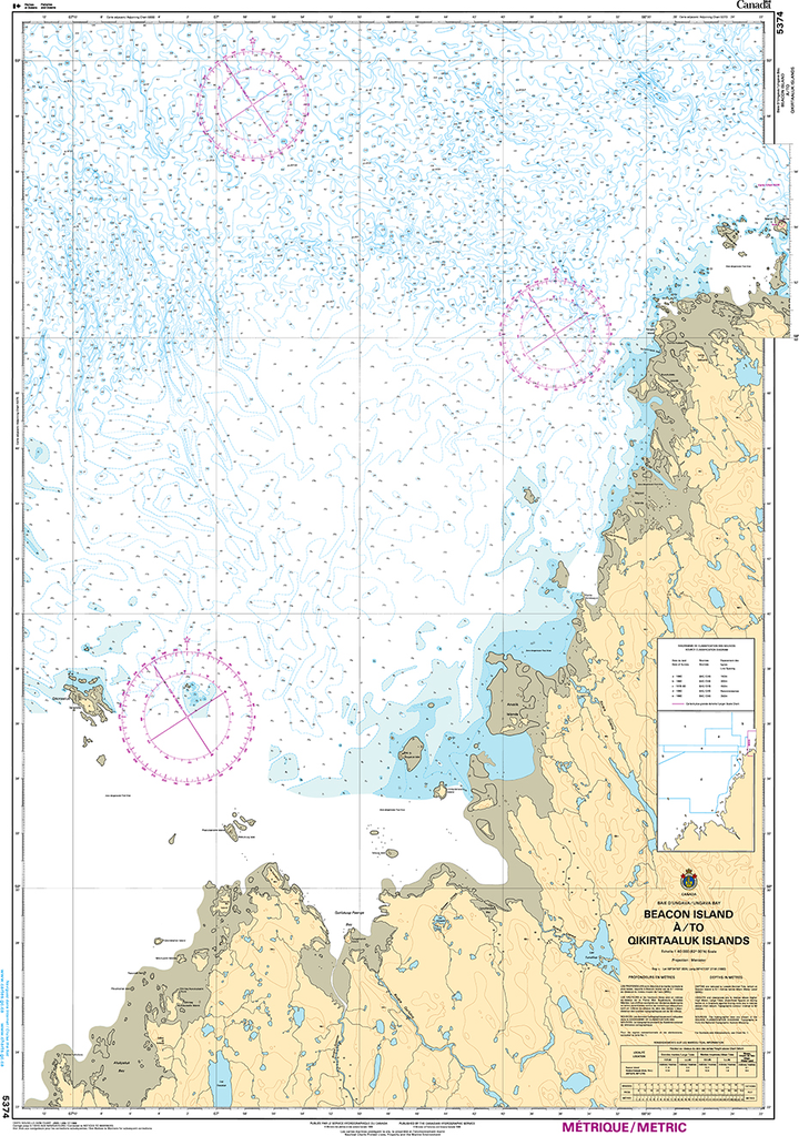 CHS Print-on-Demand Charts Canadian Waters-5374: Beacon Island €/to Qikirtaaluk Islands, CHS POD Chart-CHS5374
