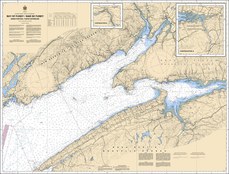 CHS Chart 4010: Bay of Fundy / Baie de Fundy: Inner portion / partie intérieure