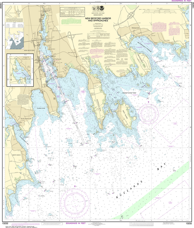 NOAA Chart 13232: New Bedford Harbor and Approaches