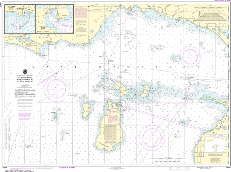 NOAA Chart 14911: Waugoshance Point to Seul Choix Point, including Beaver Island Group, Port Inland, Beaver Harbor