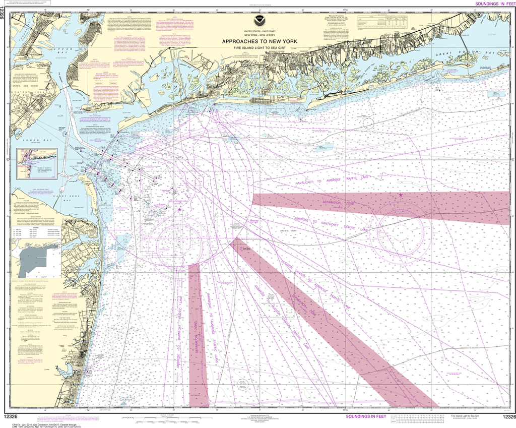 NOAA Chart 12326: Approaches to New York - Fire lsland Light to Sea Girt