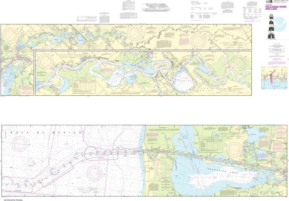 NOAA Print-on-Demand Charts US Waters-Calcasieu River and Lake-11347
