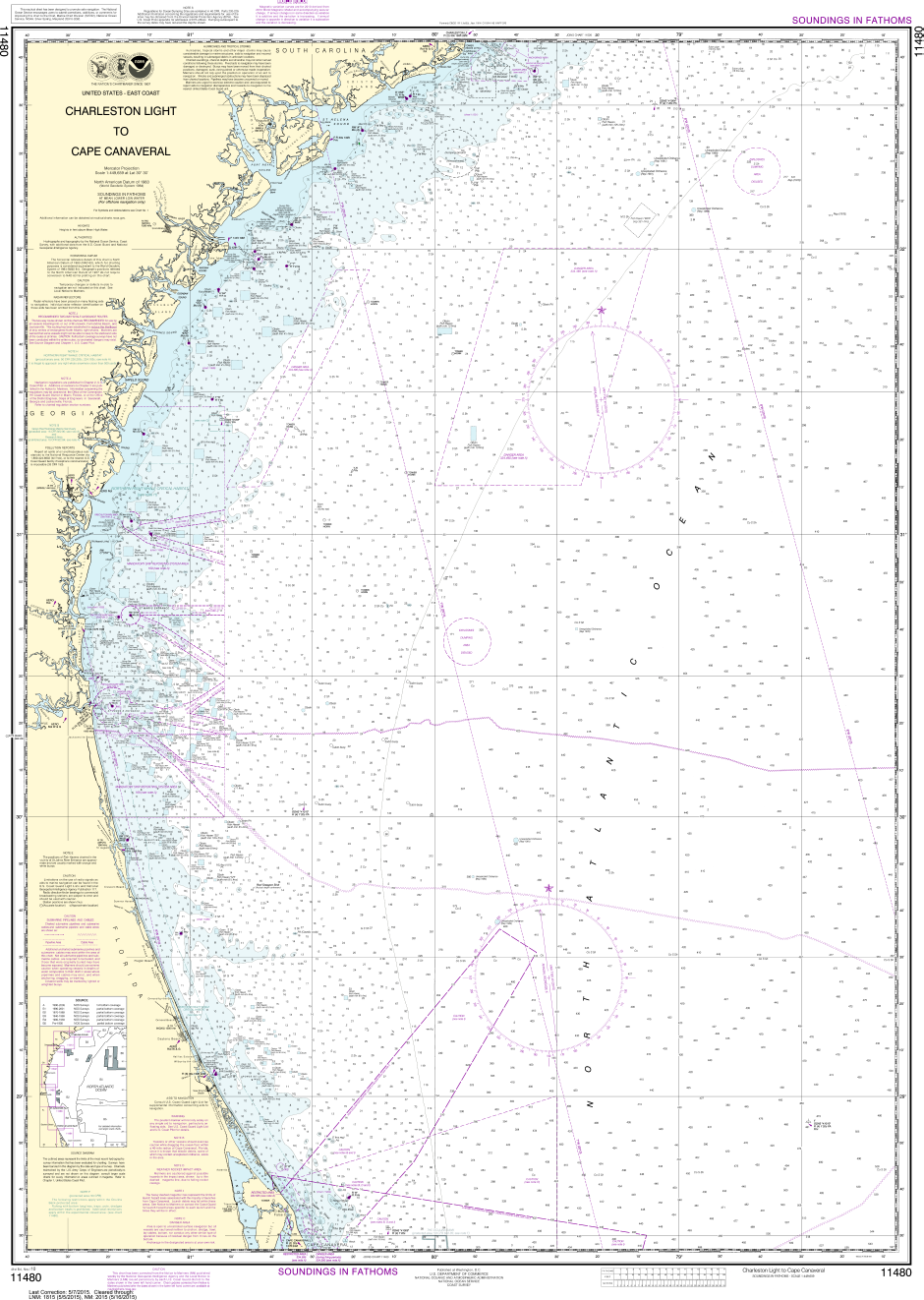 NOAA Print-on-Demand Charts US Waters-Charleston Light to Cape Canaveral-11480