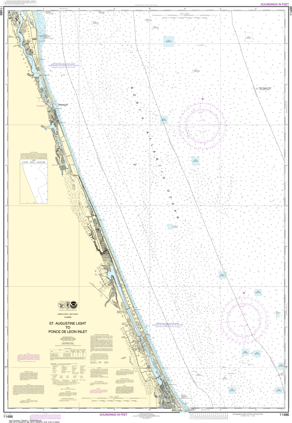 NOAA Print-on-Demand Charts US Waters-St. Augustine Light to Ponce de Leon Inlet-11486