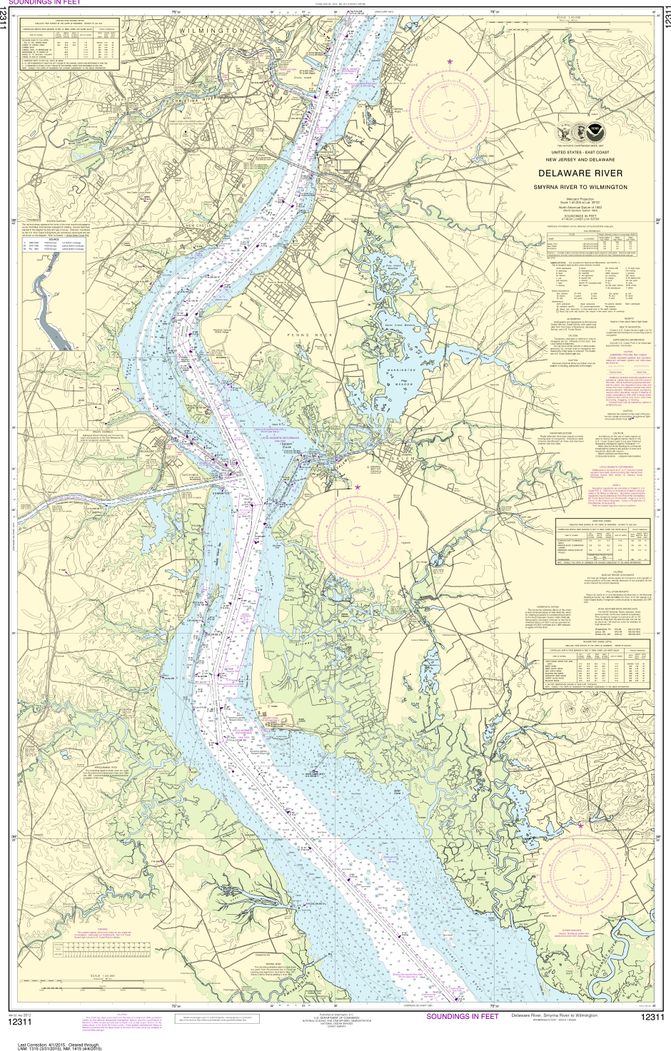 NOAA Print-on-Demand Charts US Waters-Delaware River Smyrna River to Wilmington-12311