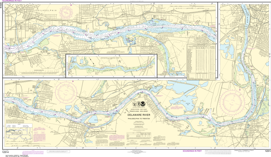 NOAA Print-on-Demand Charts US Waters-Delaware River Philadelphia to Trenton-12314