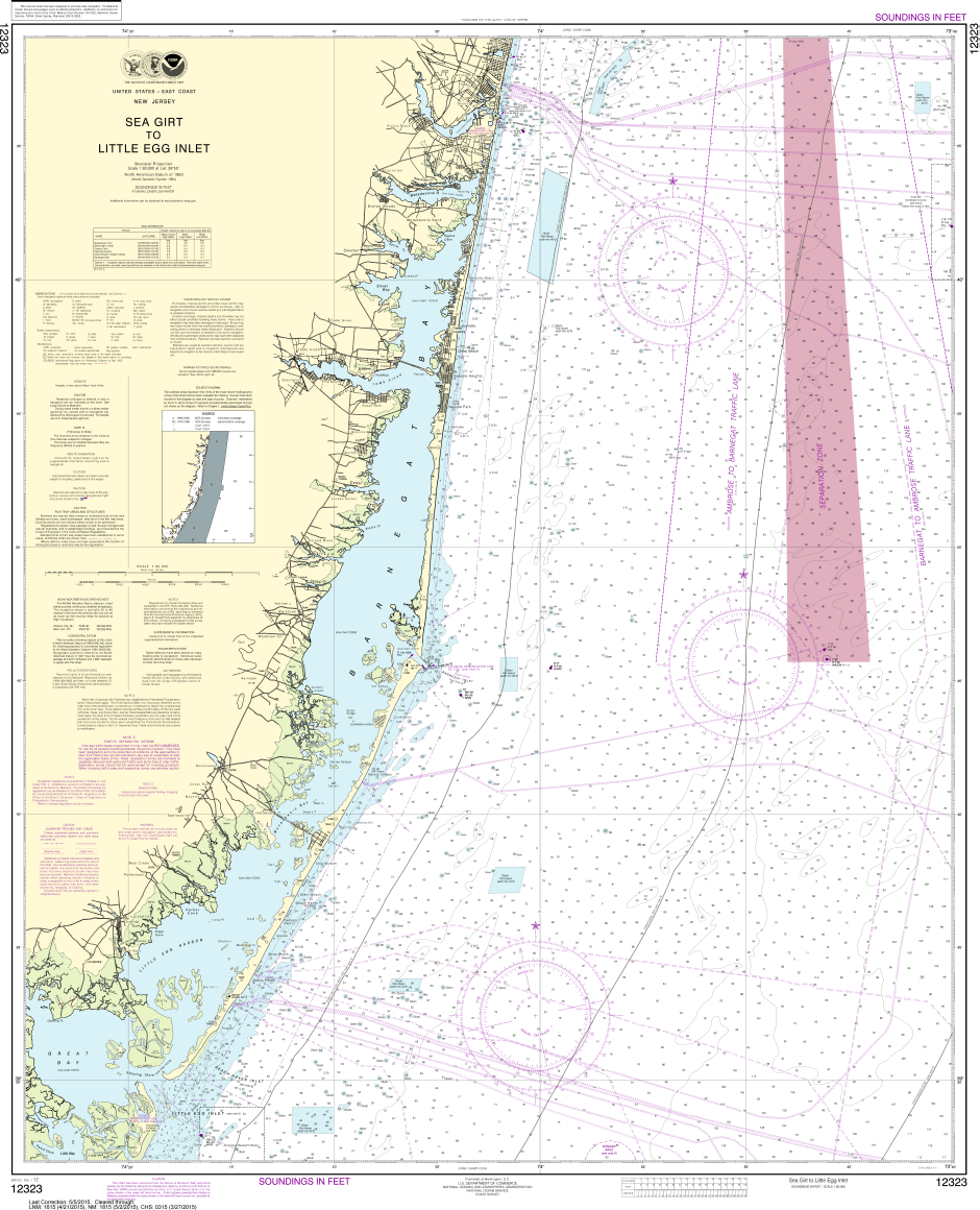 NOAA Print-on-Demand Charts US Waters-Sea Girt to Little Egg Inlet-12323