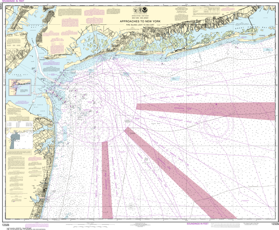 NOAA Print-on-Demand Charts US Waters-Approaches to New York Fire lsland Light to Sea Girt-12326