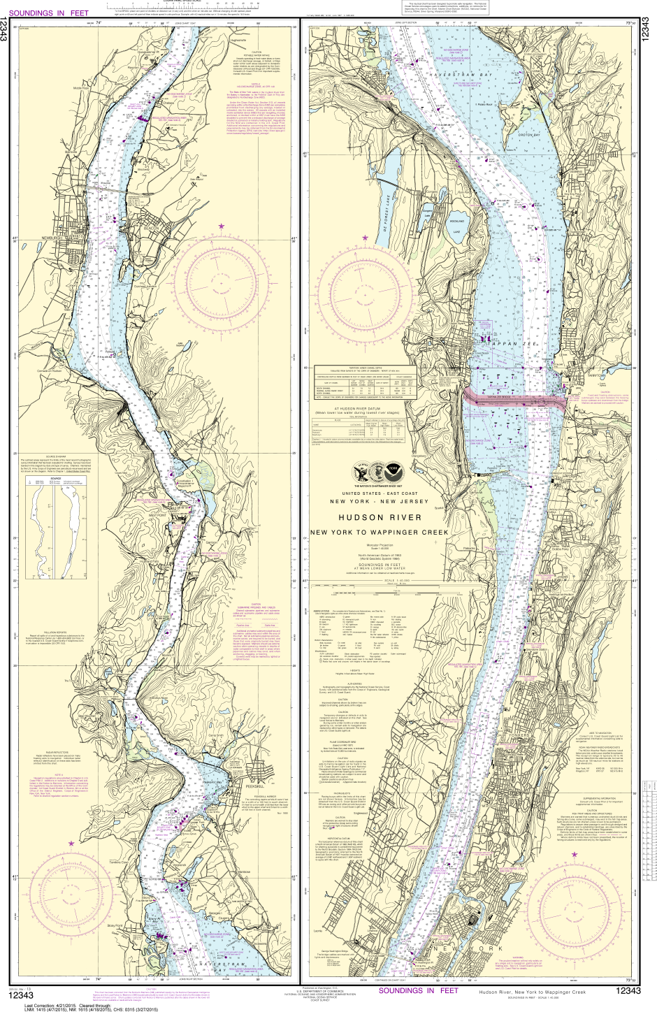 NOAA Chart Hudson River New York To Wappinger Creek - Hudson river on us map