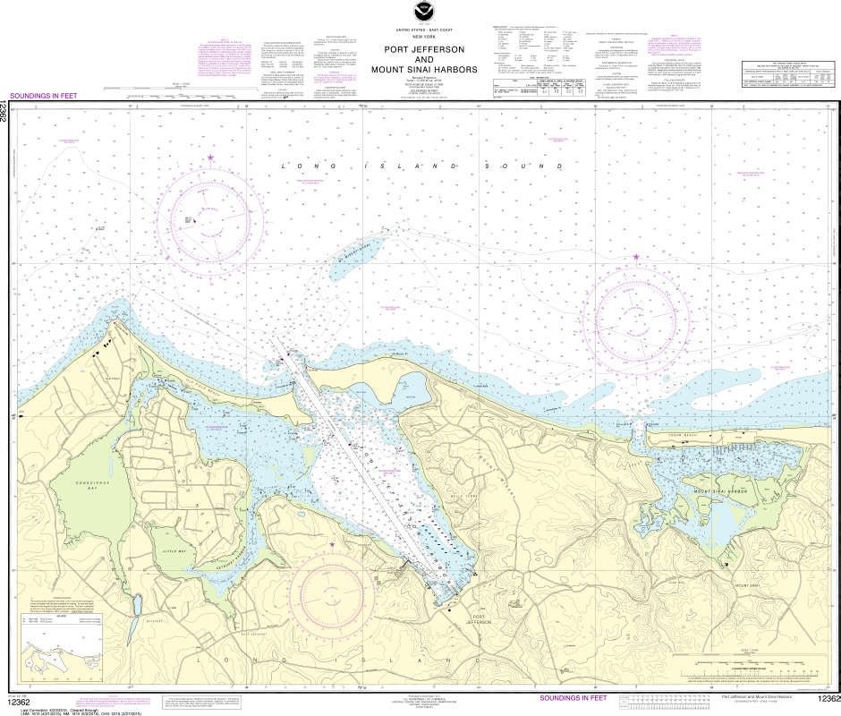 NOAA Print-on-Demand Charts US Waters-Port Jefferson and Mount Sinai Harbors-12362