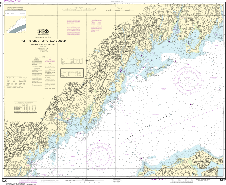 NOAA Print-on-Demand Charts US Waters-North Shore of Long Island Sound Greenwich Point to New Rochelle-12367