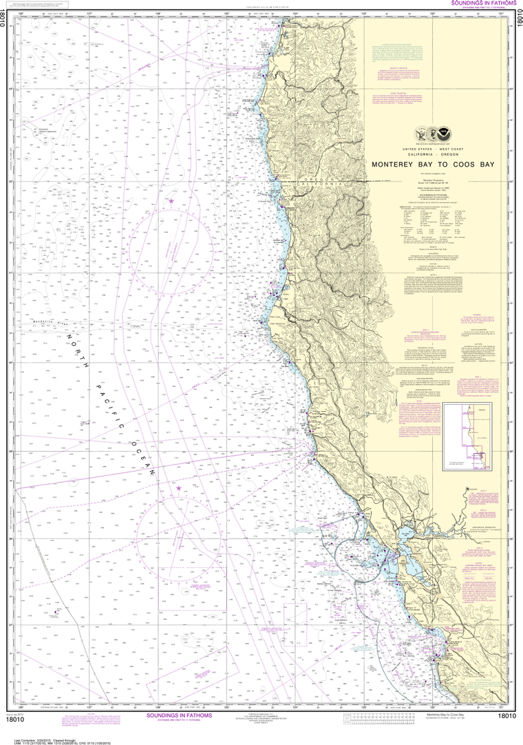 NOAA Print-on-Demand Charts US Waters-Monterey Bay to Coos Bay-18010
