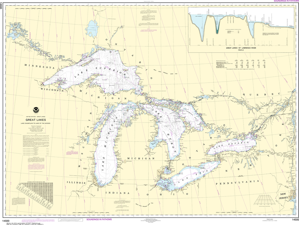 NOAA Chart 14500: Great Lakes - Lake Champlain to Lake of the Woods