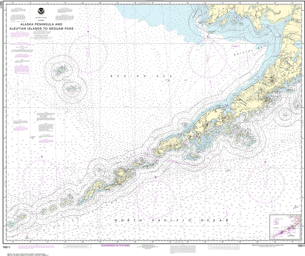 NOAA Chart 16011: Alaska Peninsula and Aleutian Islands to Seguam Pass