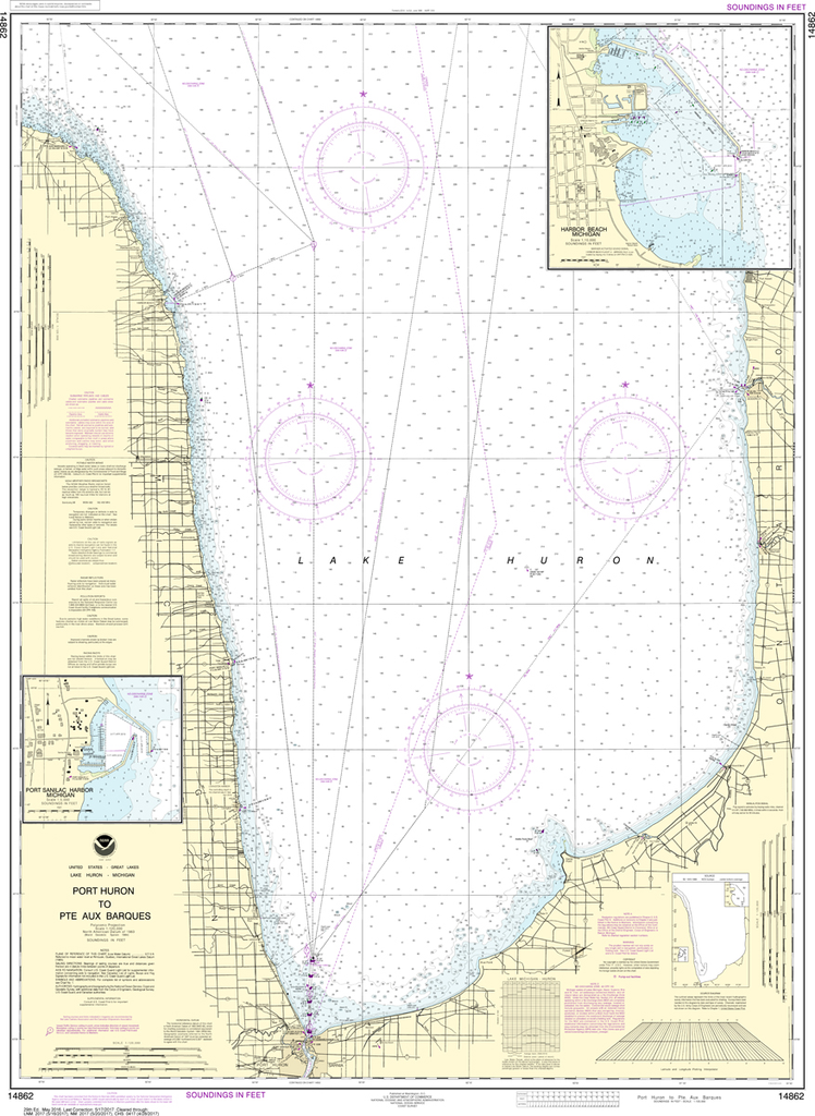 NOAA Chart 14862: Port Huron to Pointe aux Barques, Port Sanilac, Harbor Beach