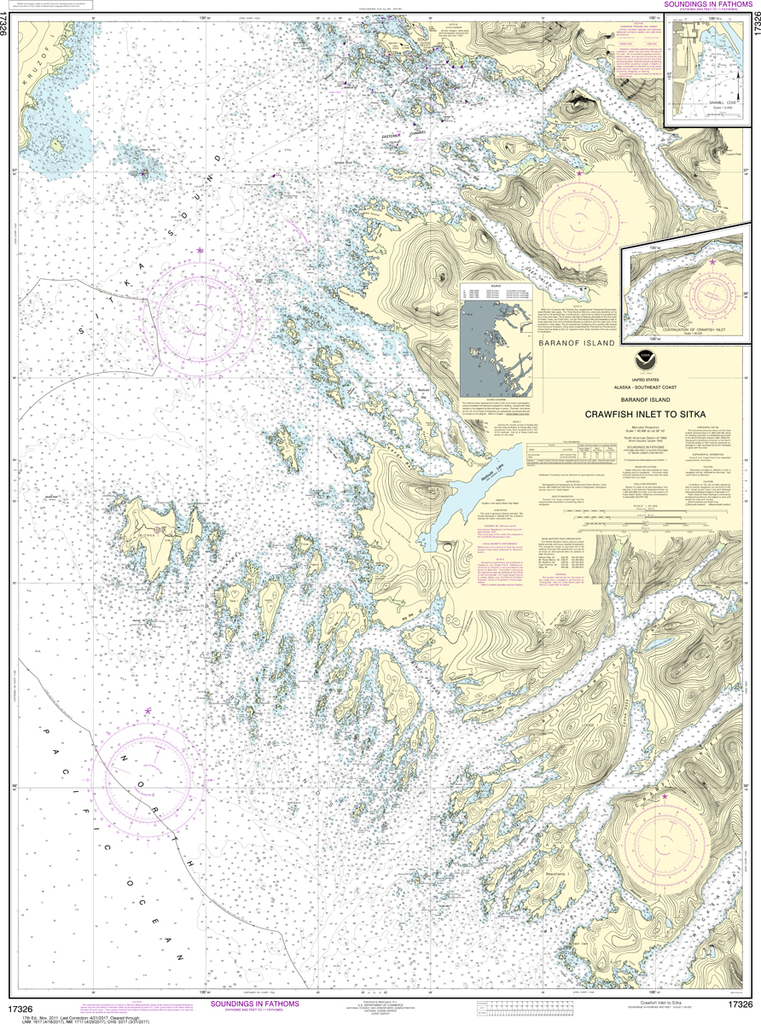 NOAA Chart 17326: Crawfish Inlet to Sitka, Baranof Island Sawmill Cove