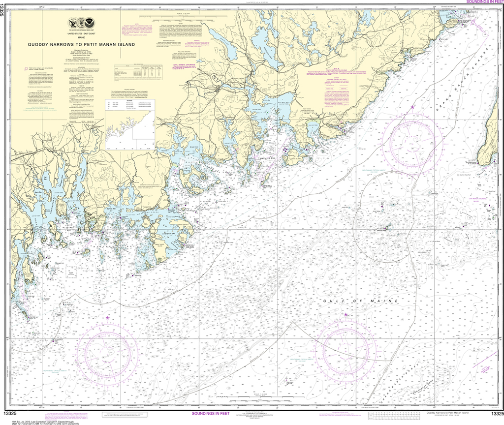 NOAA Chart 13325: Quoddy Narrows to Petit Manan lsland