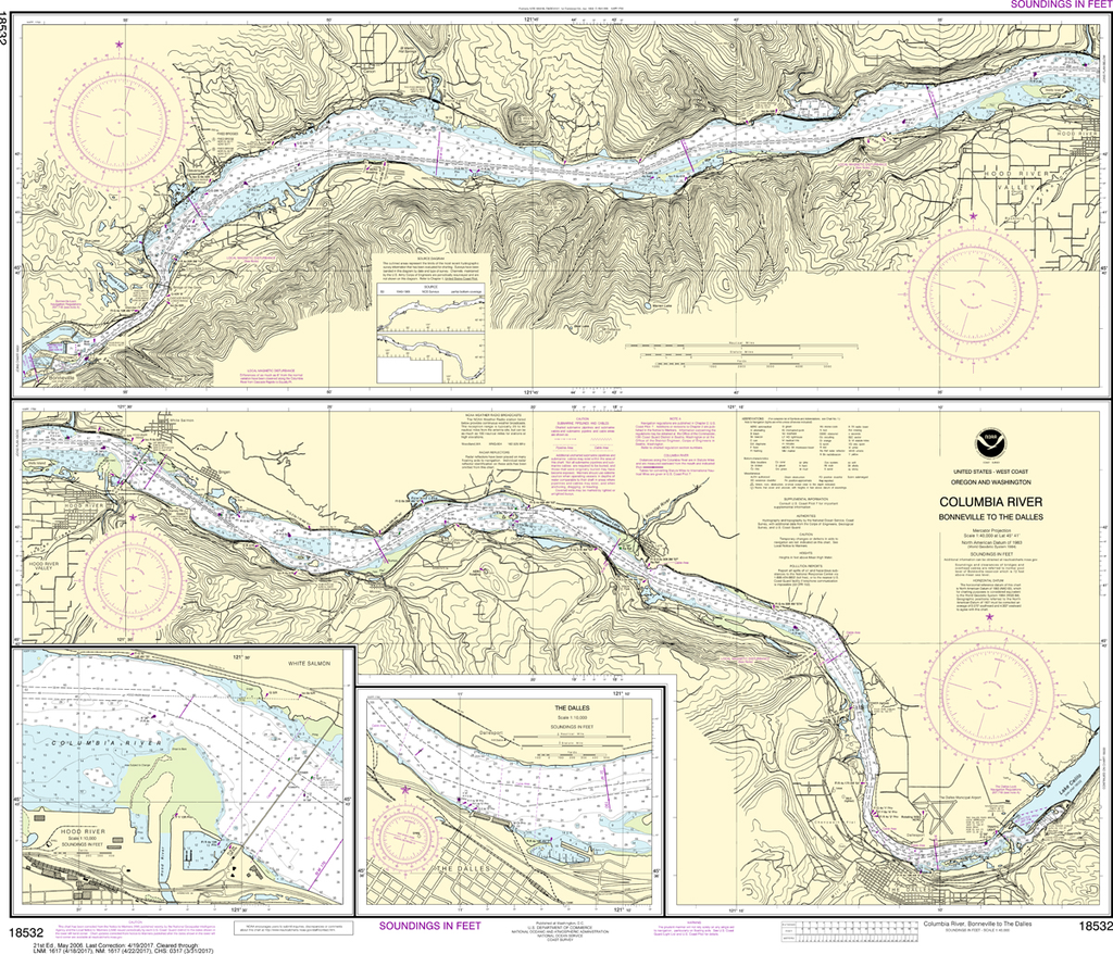NOAA Chart 18532: Columbia River - Bonneville To The Dalles, The Dalles, Hood River