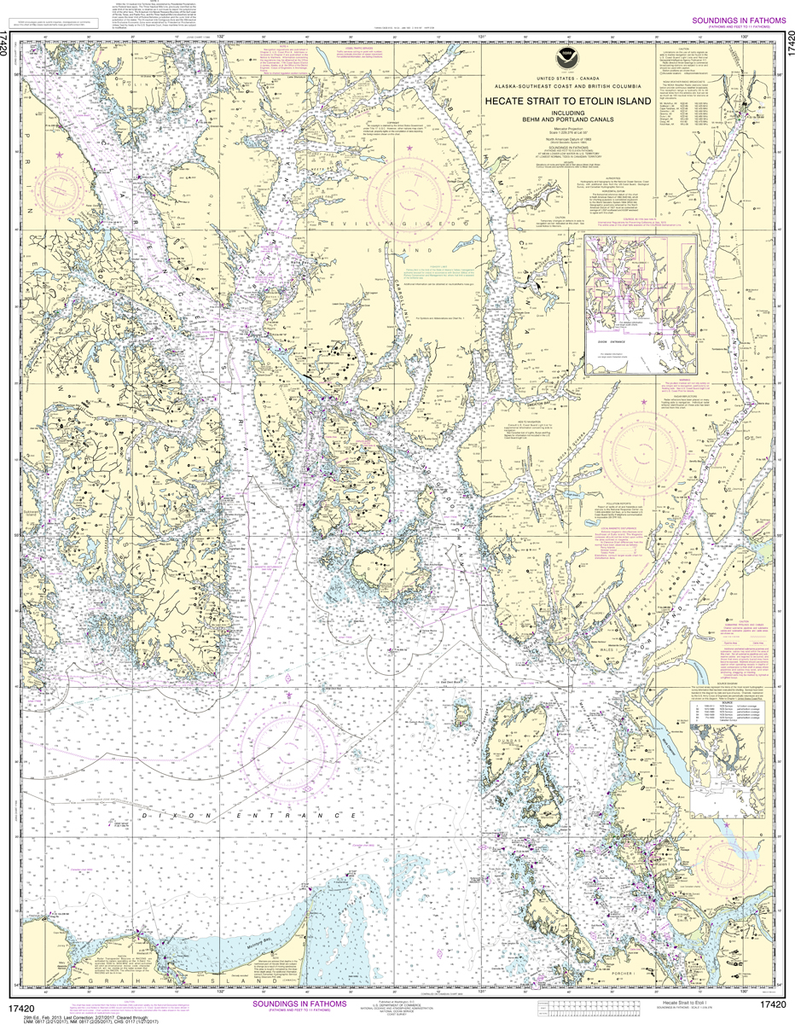 NOAA Chart 17420: Hecate Strait to Etolin Island, including Behm and Portland Canals