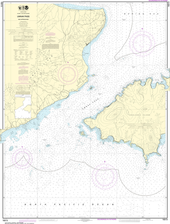 NOAA Chart 16513: Unalaska Island - Umnak Pass and Approaches