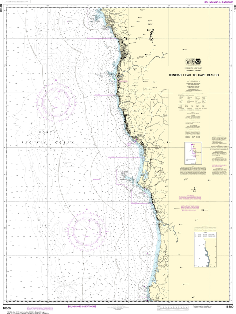 NOAA Chart 18600: Trinidad Head to Cape Blanco