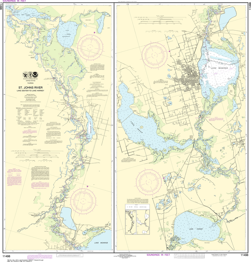 NOAA Chart 11498: St. Johns River - Lake Dexter to Lake Harney