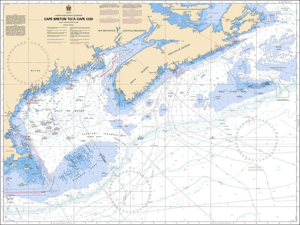 CHS Chart 4003: Cape Breton to / à Cape Cod