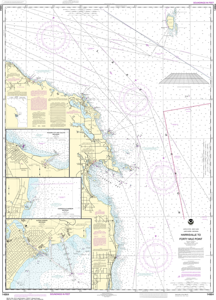 NOAA Chart 14864: Harrisville to Forty Mile Point, Harrisville Harbor, Alpena, Rogers City and Calcite