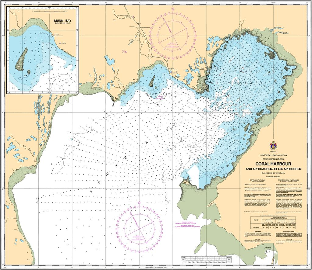 CHS Chart 5410: Coral Harbour and Approaches/et les approches